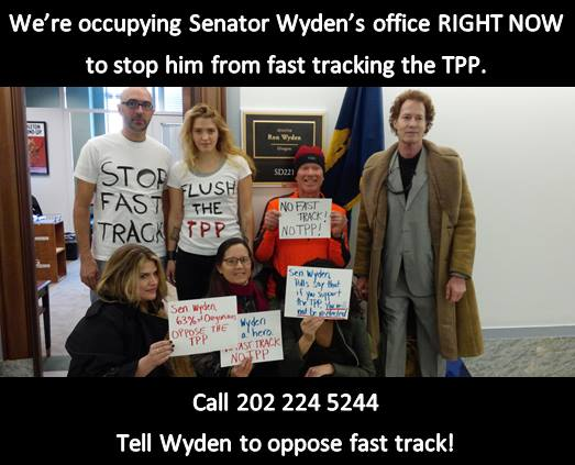 Fast Track sit-in at Wyden's office 2-24-15
