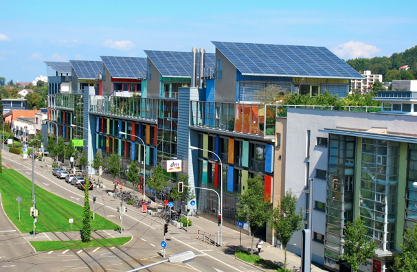 Solarschiff (Solar ship) in the residential area Solarsiedlung in Freiburg im Breisgau in Germany