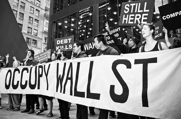 SEPTEMBER 17, 2012- Occupy Wall Street protesters gather for the one year anniversary of their movement's beginning. (Photo: Glenn Halog)
