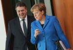 German Vice Chancellor Sigmar Gabriel with Angela Merkel. Photo: Sean Gallup/Getty Images