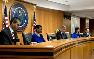 FCC Commissioners Ajit Paj, Mignon Clyburn, Chairman Tom Wheeler, Jessica Rosenworcel and Michael O'Rielly. By Karen Bleier, AFP, Getty Images