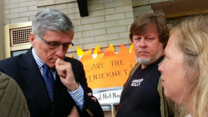 FCC Chairman Tom Wheeler visits Occupy FCC encampment and talks to Kevin Zeese and Margaret Flowers.