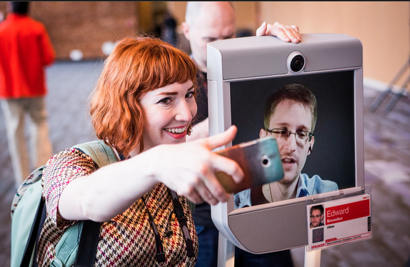 Bret Hartman/TED. Edward Snowden made a surprise appearance at the TED Conference in Vancouver via robot.