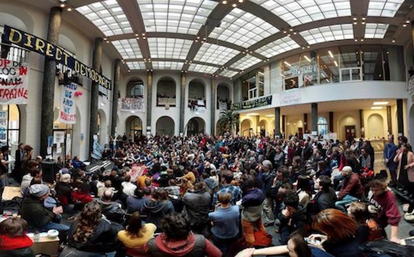 Image: David Graeber speaks at the Maagdenhuis (by Malcolm Kratz).