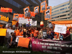 Net neutrality advocates protest outside the FCC. By John Zangas of DC Media Group.