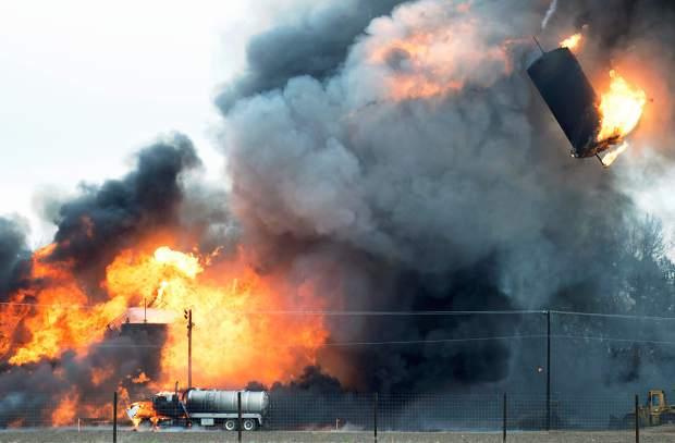 Colorado Fracking Wastewater Site Explodes. Image Credit KELSEY BRUNNER