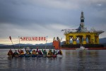 SHell No image Kayaks in front of Oil Rig
