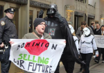 Anti-fracking activists marched in front of Dominion Energy's annual shareholder meeting in February to the tune of the Imperial March. (We Are Cove Point)