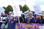 Airport workers calling for higher wages and union representation rallied outside LaGuardia Airport on April 23, 2015, in Queens, New York. (Photo: Matt Surrusco / Truthout)