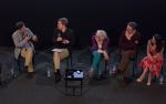 Panel at Guardian Live preview screening of We Are Many: (l-r) Tamsin Omond, Amir Amirani, Seumas Milne, Ruth London, John Rees and Katherine Connolly, 17 May 2015. Photograph: James Drew Turner/Guardian
