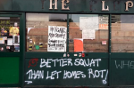 "38 	 	  LAURA PROTO Published: 23 July 2015 Updated: 10:49, 23 July 2015 Squatters were today evicted from the historic Elephant and Castle pub after a month-long protest about gentrification and the selling off of social housing.  Police said bailiffs secured the pub in the early hours of this morning and about 20 squatters were removed.  The group took over the pub on Wednesday, June 17, in a protest against gentrification after estate agent Foxtons submitted an application to open a premises at the famous pub site.  Kazz Rafi, who works at Elephant and Castle Food and Wine, said five or six police vans and security crews arrived just before 4am today.  He told the Standard: ""The people were sleeping inside and [police] told them to go. They were illegally inside - it's not their property.""  The squatters were expected to move on to occupy another vacant building.   Elephant and Castle pub Historic: The pub has been at the centre of a row about gentrification (Picture: Laura Proto) Some were seen being forced to leave the abandoned pub in just their underwear while it remained dark outside.  Mr Rafi added since the squatters, a group of 20 to 25, arrived last month it had changed the feel of the area.  He said: ""It is a lot of noise in the morning.  ""It is more rough here now because of them. They smashed the glass on the pub about three days ago.""   The group are said to have been mostly male Europeans and Mr Rafi said one older man, of about 65 years old, was also seen with them on occasions.  The pub, which has been part of the community since written records began in 1765, lay unused since March after it had its licence revoked following an assault.   Elephant and Castle pub Graffiti: One slogan outside read 'better squat than let homes rot' (Picture: Laura Proto) This morning the abandoned pub was covered in graffiti on outside and signs placed in the windows reading ""f*** Foxtons"", ""Heygate, Aylesbury, Guinness Trust: Your Home Will Be Next!"" and ""Every great injustice has been at the hands of someone just following orders.""  Southwark borough commander Zander Gibson said: ""The Elephant and Castle Pub has for many years been a central feature of life in the area. I totally understand that the topic of its future use and occupation has caused so much comment, concern and split opinion.  ""Thankfully, the bailiffs were able to operate without the need for police intervention this morning and I'm glad the eviction took place without anyone from either side getting hurt.  ""Whatever form the pub takes in the future, I look forward to it again becoming a central feature of life at the Elephant.""  38 	 	  Top stories in News Fire in Montagu Row Marylebone fire: Victorian pub badly damaged as blaze breaks out Belinda Ball has been missing since July 22 Woman's body discovered in Thames linked to missing east Londoner Belinda Ball, 52 Sunshine in London - but it won't last London weather: South-east wakes up to day of sun following monumental rainfall... but it won't last, forecasters warn Minicab crash in King's Cross Minicab driver dead after going into cardiac arrest at wheel and crashing into metal barrier in King's Cross News pictures of the day 1 of 55 Big fansSmokyFireCrime sceneDizzyBlast off!Spot the penguinUsain BoltFinal touchesProtestFlaming goodLog rollingHow long have you been a lobster?Flying highSanta runTake thatIconstues1.jpgRed sunsetSeaworthyHippo-tot-amusMeals on wheelsFlood crashA long journeyPlumesMona in manoA meeting of mindsThe next generationMagma-nificentUnrestLondon goes greenArtist BorisChick it outRespectDino-robotModestyEmotional scarsSea of redRescue effortFlyoverFox hunting protestersRamadan celebrationsSpecial TessBull raceVictorAceAIMaking a splashOn guardQueen of SelfliesTravel chaosPETA Protest in ParisOrder of the dayLionesses roar homeRoyal guests at SW19 Next Big fansSmokyFireCrime sceneDizzyBlast off!Spot the penguinUsain BoltFinal touchesProtestFlaming goodLog rollingHow long have you been a lobster?Flying highSanta runTake thatIconstues1.jpgRed sunsetSeaworthyHippo-tot-amusMeals on wheelsFlood crashA long journeyPlumesMona in manoA meeting of mindsThe next generationMagma-nificentUnrestLondon goes greenArtist BorisChick it outRespectDino-robotModestyEmotional scarsSea of redRescue effortFlyoverFox hunting protestersRamadan celebrationsSpecial TessBull raceVictorAceAIMaking a splashOn guardQueen of SelfliesTravel chaosPETA Protest in ParisOrder of the dayLionesses roar homeRoyal guests at SW19 Comments  Post a new comment Login  2 CommentsRSS