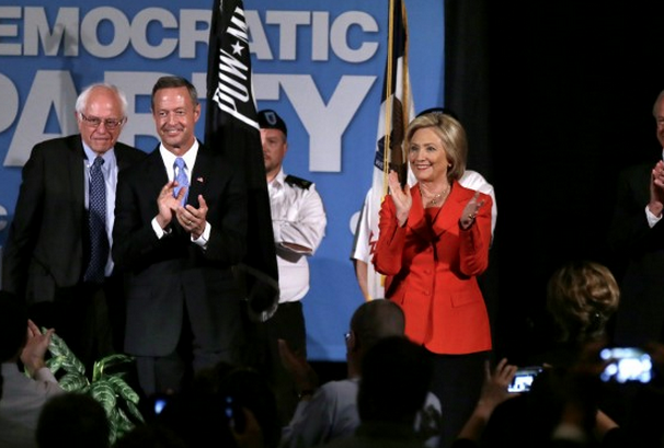 (Photo: AP/Charlie Neibergall) Democratic presidential candidates stand on stage during the Iowa Democratic Party's Hall of Fame Dinner on July 17 in Cedar Rapids. From left, Bernie Sanders, Martin O'Malley, Hillary Clinton, and Lincoln Chafee.