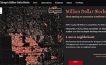 A screenshot of Chicago's Million Dollar Blocks, an interactive map project showing how much was spent to incarcerate people from each block in the city. Close Chicago's Million Dollar Blocks
