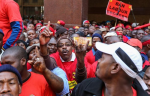 Members of the National Union of Metalworkers of South Africa march for a wage increase in July last year in Cape Town. Image by: GALLO IMAGES