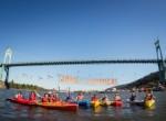 Shell NO Blockade in Portland danglers and kayactivists