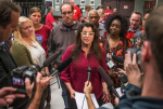 Teachers-union bargaining chair Phyllis Campano speaks Tuesday evening about the tentative deal between the union and district. It was a long day for negotiators, who reached the agreement after... (Dean Rutz/The Seattle Times)