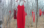 The red dress of Jamie Black's work is meant to symbolize the violence faced by indigenous women but is also a symbol of the power of a community coming together to fight this violence.