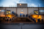 Prisoners wait in line for breakfast at California Men's Colony prison on Dec. 19, 2013. (Photo by Andrew Burton/Getty Images)