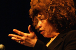 Angela Davis speaking at Myer Horowitz Theatre of the University of Alberta. Nick Wiebe/Wikimedia Commons