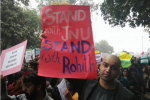Students march in support of JNU on Feb. 18. (Facebook/Stand With JNU)