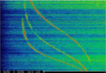 "This image released by the Whitney Museum of American Art shows a pigmented inkjet print on aluminum by Laura Poitras, titled, ""ANARCHIST: Data Feed with Doppler Tracks from a Satellite (Intercepted May 27, 2009), 2016,"" part of a solo exhibition titled, ""Astro Noise,"" showing at the Whitney Museum of American Art through May 1. (Laura Poitras/Whitney Museum of American Art via AP)"