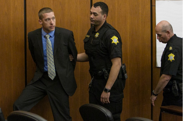 Sean Groubert, being led into custody, after pleading guilty in the shooting of unarmed Levar Jones in 2014. AP
