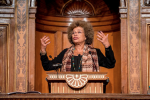 Angela Y. Davis gives a lecture at the University of Vienna. (Photo: Universität Wien)
