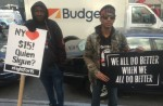 Anthony Plummer (right) protesting for a $15 minimum wage and to demand justice for Akai Gurley's death. KIRA LERNER