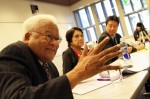 The Rev. James Lawson Jr. (left) speaks to UCLA students attending a graduate seminar he co-led with Kent Wong (right), director of the UCLA Labor Center. Among the civil rights leaders they invited to participate is well-known social activist Dolores Huerta (middle), who co-founded the union that later became the United Farm Workers of America. Huerta received the UCLA Medal, the highest award given by the university, for her work.