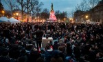 Nuit Debout demonstrators gather in Place de la République for a nocturnal sit-in. Photograph Ian Langsdon-EPA