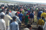 Around 500 villagers gathered in Gandamara, a remote coastal town in Chittagong district of Bangladesh, to protest against the construction of two China backed coal-fired power plants that they say will evict thousands from the area. Photograph: Courtesy 350 South Asia