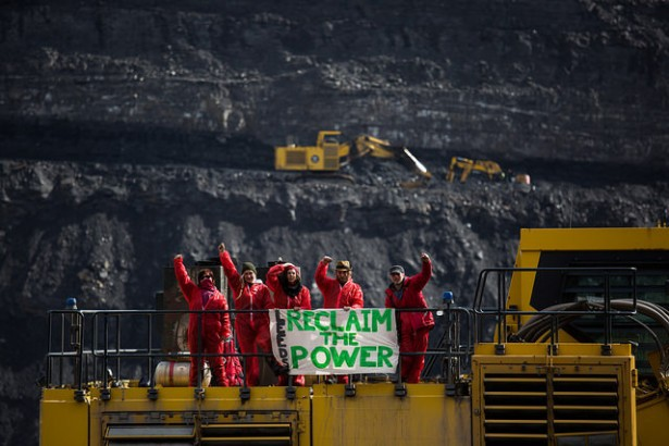 Young people involved with the Break Free movement stopped an open-cast coal mine from operating for the day during a demonstration at the Ffos-y-fran coal mine in Wales on May 3, 2016. (Photo: Break Free)