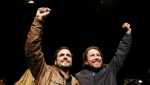 IU leader Alberto Garzon (L) and Podemos leader Pablo Iglesia (R) celebrating the deal on Monday 9, May, 2016. | Photo: EFE