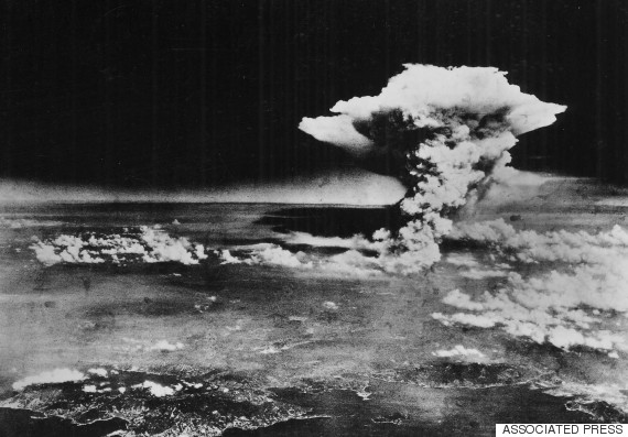 A huge cloud above Hiroshima, a few hours after the initial explosion on Aug. 6, 1945. (Hiroshima Peace Memorial Museum/U.S. Army via AP)