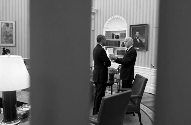 President Barack Obama talks with Vice President Joe Biden in the Oval Office, April 15, 2015. Photo: The White House