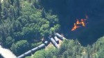 An aerial view of an oil train derailment in Mosier in the Columbia River Gorge, June 3, 2016 (KOIN)