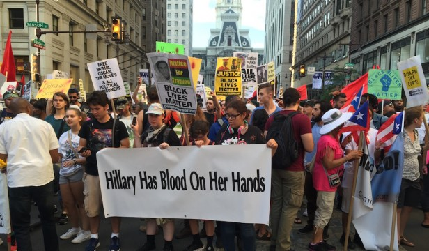 Hillary has blood on her hands protest DNC from PhillyMag
