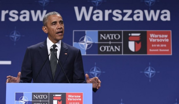 Obama speaking at NATO meeting