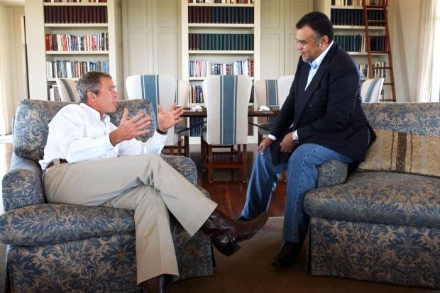 President George W. Bush meets with Prince Bandar bin Sultan, the Saudi Ambassador to the United States.