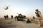 A 105mm gun is dropped by a Chinook helicopter to British 29 Commando Regiment Royal Artillery on the Fao Peninsula in southern Iraq. March, 2003Getty