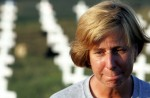 Cindy Sheehan, whose son Army Specialist Casey Sheehan was killed in Iraq, on Aug. 26, 2005 near President George W. Bush's ranch in Crawford, Texas. Joe Raedle/Getty Images