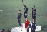 From left on the 200-meter medal stand at the Mexico City Olympics: Australian Peter Norman and Americans Tommie Smith and John Carlos. (Angelo Cozzi / Wikimedia Commons)