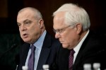 Aetna CEO Mark Bertolini and Anthem CEO Joseph Swedish testify at the Senate Judiciary Committee Subcommittee on Antitrust, Competition Policy and Consumer Rights in Washington, Sept. 22, 2015. (Bloomberg photo: T.J. Kirkpatrick)
