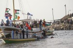 A solidarity boat, the Free Gaza, arrives in Gaza in August, 2008. (Photo from the Free Gaza Movement)