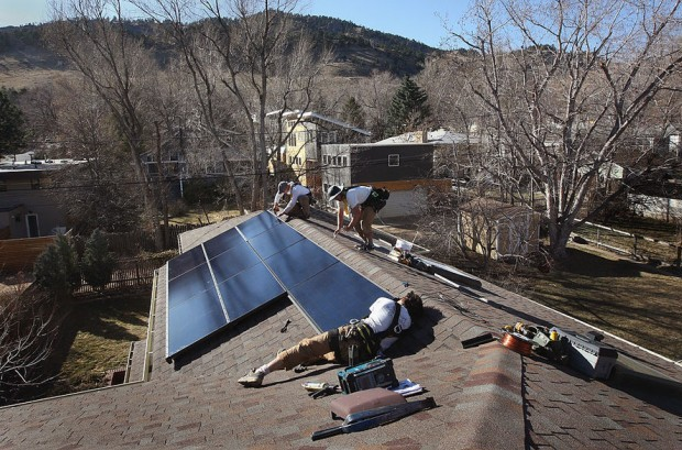 A new rate settlement in Colorado could help boost rooftop installations like this one in Boulder. Credit: Getty Images