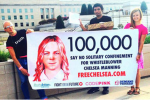 Supporters delivering 100,000 petitions to Army officials the morning of Chelsea's hearing.