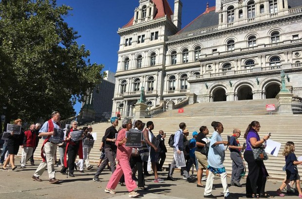 Demonstrators picketed outside the state Capitol in Albany, N.Y., as part of Moral Mondays events across the country. Photo courtesy of Citizen Action of New York
