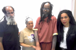 Mumia Abu-Jamal, third from the left, in a picture taken last April after his medical emergency with supporters Abdul John, Pam Africa and Johanna Fernández. Photograph: Courtesy of Johanna Fernandez