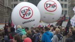 People demonstrate against the TTIP and CETA trade agreements in Leipzig, Germany, Sept. 17, 2016. Thousands of people are rallying in cities across Germany to protest against planned European Union trade deals with the United States and Canada. (Photo: AP)