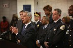 Superintendent Garry McCarthy, second from right, listens as Mayor Rahm Emanuel discusses a plan to reassign Chicago police officers from administrative duties to patrol during a press conference on Jan. 31, 2013. Photo: Scott Olson/Getty Images